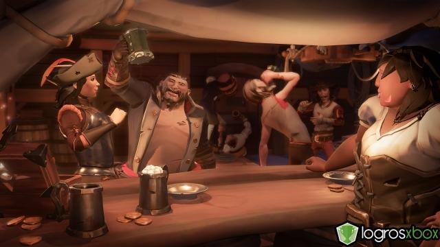 Disfruta de una jarra de grog junto a otra tripulación en un puesto de avanzada.